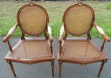 SOLD - Pair Salon Armchairs with Oval Back